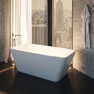 67 Inch Rectangular Solid Surface Freestanding Bathtub