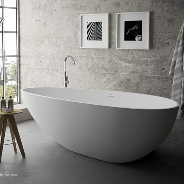 Concrete Grey Bathroom Egg Solid Surface Freestanding Bathtub