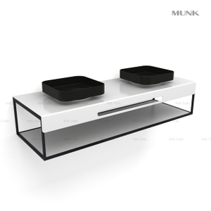 63 Inch Wall-hung Square Double Basin with Cabinet
