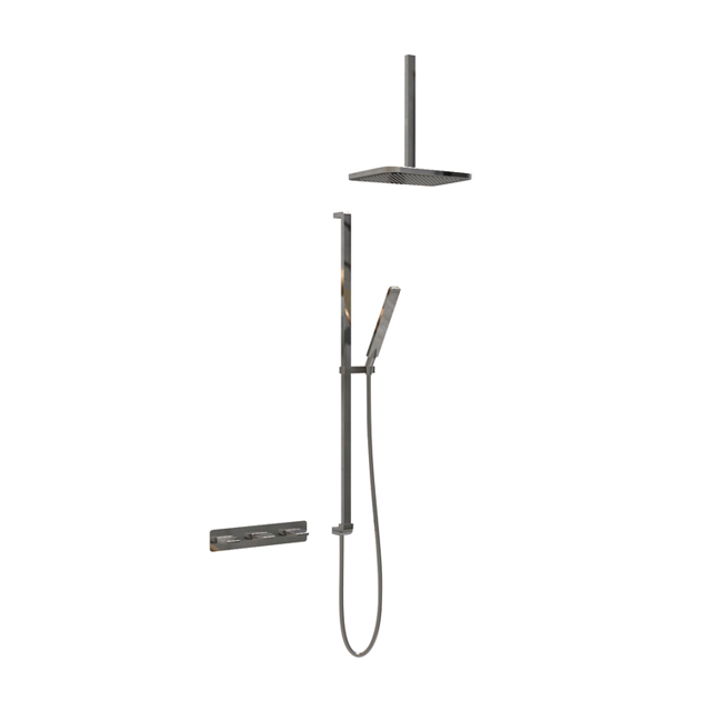 Dual-handle concealed shower set with sliding bar