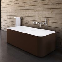 67 Inch Square Luxurious Freestanding Bathtub Coffee Gold&white Color