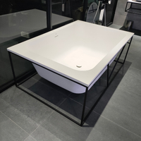 Square Freestanding Bathtub with Iron Frame