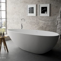 Concrete Grey Bathroom Egg Solid Surface Freestanding Bathtub