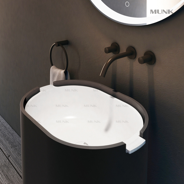 Matte Balck Separated Wall-mount Basin Mixer