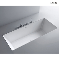 57 Inch Matte White Drop-in Bathtub