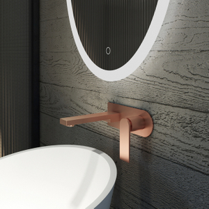 Stylish Wall-mount Basin Mixer in Brushed Rose Golden